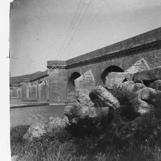 El pont de Molins de Rei el 1917 (Foto Salvany)