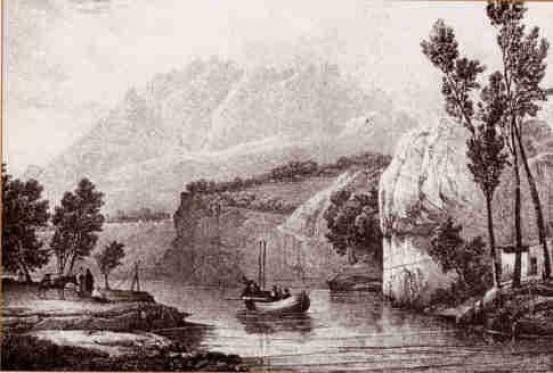 Pas amb Barca del riu Llobregat, entre Olesa i Esparreguera, segons un gravat de Langlois (inicis del segle XIX). El pas de Sant Andreu de la Barca devia ser molt semblant.