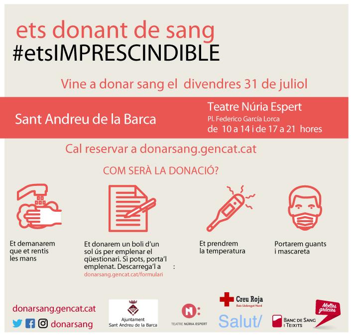 El Teatre Núria Espert acollirà una jornada de donació de sang el 31 de juliol
