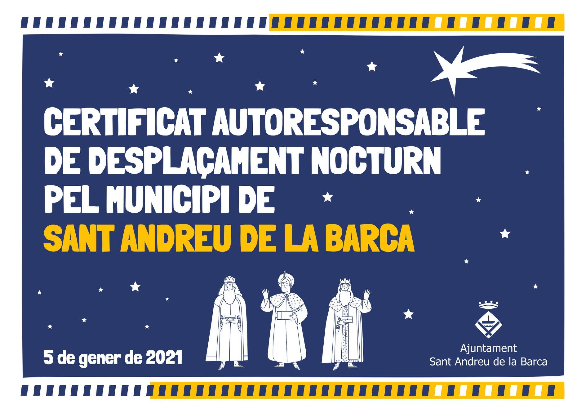 L'alcalde de Sant Andreu de la Barca autoritza als Reis Mags a trencar el confinament nocturn
