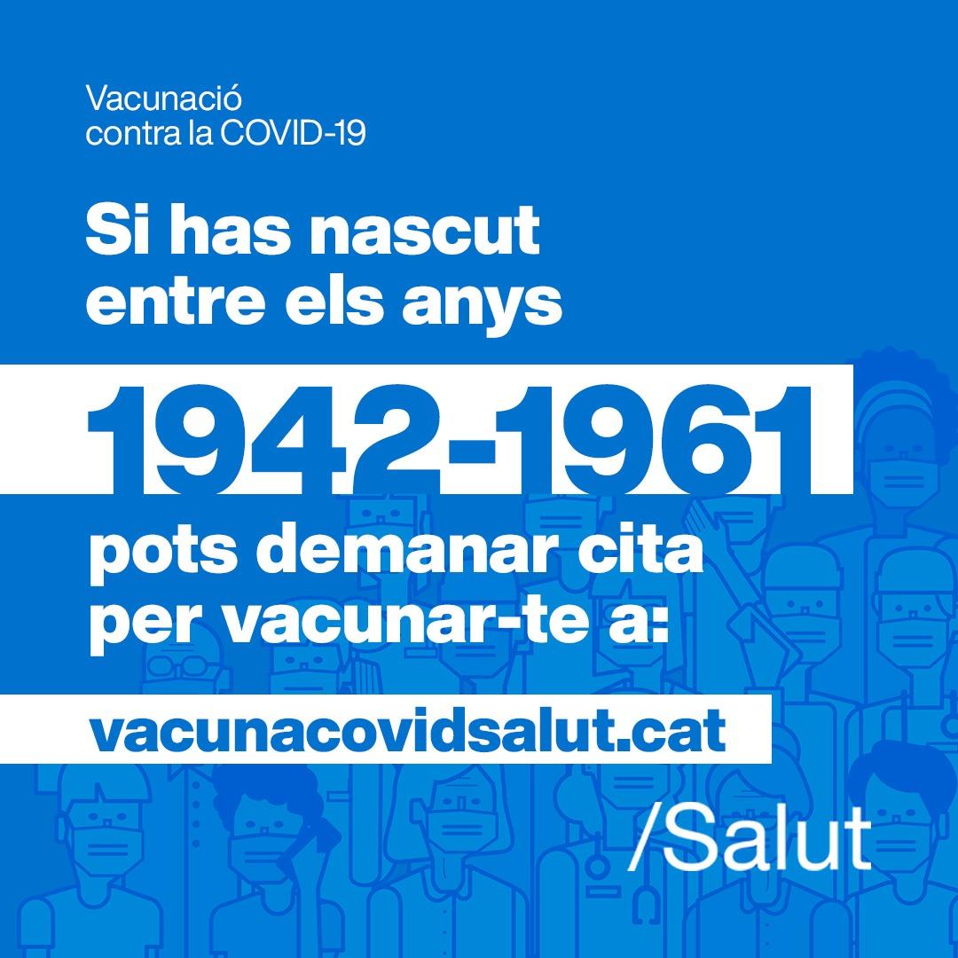 Crida a les persones d'entre 60 i 69 anys perquè es vacunin